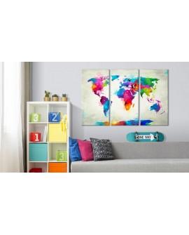 Tableau en liège - Colourful Expression [Cork Map]