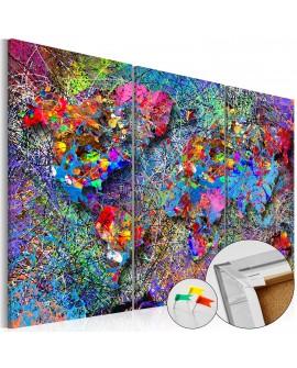 Tableau en liège - Colourful Whirl [Cork Map]