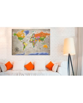 Tableau en liège - World Map: Retro Style [Cork Map]