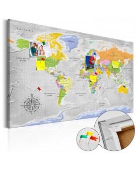 Tableau en liège - World Map: Wind Rose [Cork Map]
