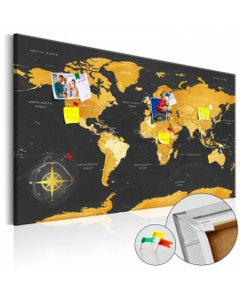 Tableau en liège - Golden World [Cork Map]