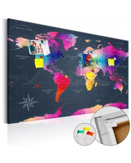 Tableau en liège - Colourful Crystals [Cork Map]
