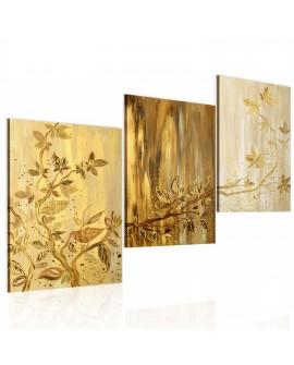 Tableau peint à la main - Feuilles dorées