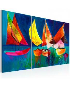 Tableau peint à la main - Voiliers multicolores
