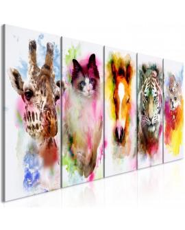Tableau - Watercolour Animals (5 Parts) Narrow