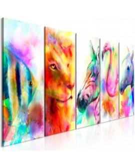 Tableau - Rainbow Watercolours (5 Parts) Narrow