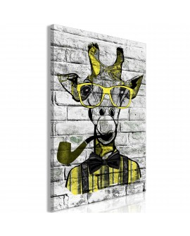 Tableau - Giraffe with Pipe (1 Part) Vertical Yellow