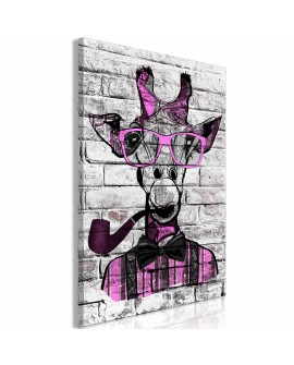 Tableau - Giraffe with Pipe (1 Part) Vertical Pink