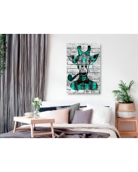 Tableau - Giraffe with Pipe (1 Part) Vertical Green