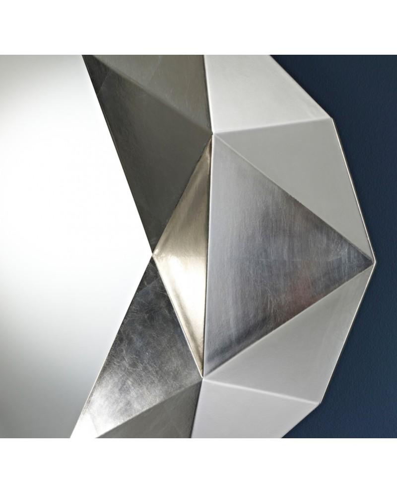Miroir moderne precious silver modern ovale argent 93x125 cm for Miroir moderne