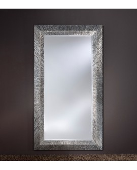 Miroir encadré Groove Silver Rectangle Argent+patine 119 X 205