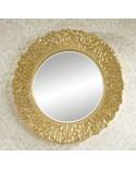Miroir Design FLORA GOLD Gothique Contemporain Rond Doré 110 cm