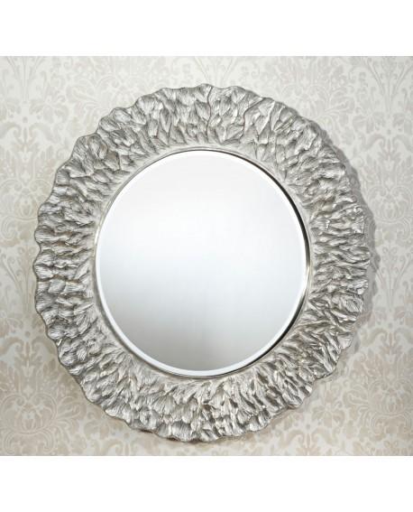 Miroir Design FLORA SILVER Gothique Contemporain Rond Argenté 110 cm