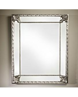 Miroir encadré Castello Silver Rectangle Argent+patine 93 X 115