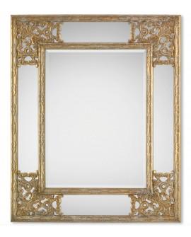 Miroir encadré Angolo Gold Rectangle Or blanchi 85 X 108