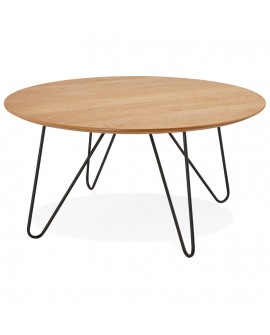 Table basse design RUNDA NATURAL 80x80x40 cm
